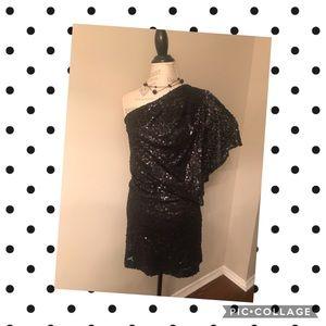 Jessica Simpson Black Sequin One Shoulder Dress